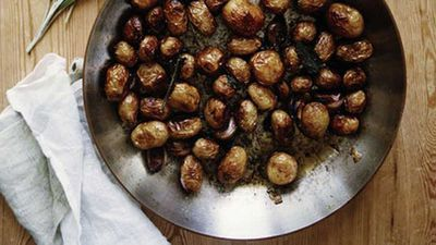 """Recipe: <a href=""""http://kitchen.nine.com.au/2016/05/17/12/41/panfried-baby-potatoes"""" target=""""_top"""">Pan-fried baby potatoes</a>"""