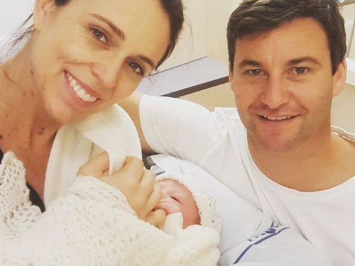 New Zealand Prime Minister Jacinda Ardern with her partner Clarke Gayford and their new daughter. (Supplied)