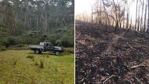 Servicewoman to return home from Afghanistan to destroyed farm near Narooma NSW. The before and after photo shows the effect of the bushfire damage.
