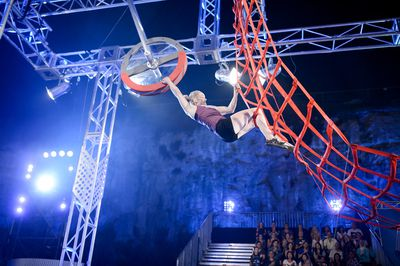 Gymnast Larissa Miller using her Olympic experience to get her through the Cargo Net.