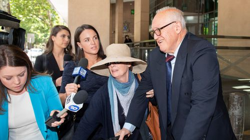 The 75-year-old laughed off the allegations outside court.