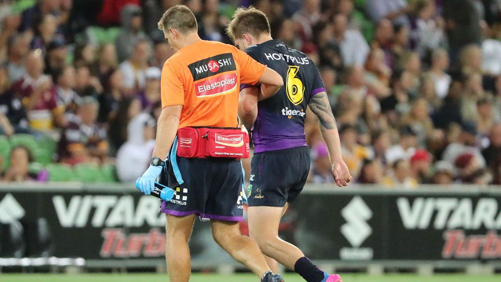 Melbourne star Cameron Munster is likely to undergo surgery after breaking his jaw in their 14-12 NRL win over Brisbane.