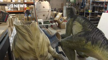 Thieves use power tools to decapitate dinosaur sculptures