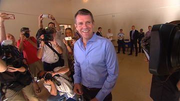 Premier Mike Baird at a campaign stop today. (9NEWS)