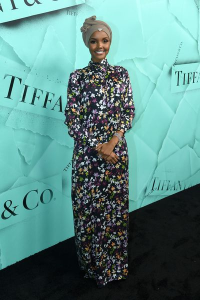 Halima Aden, a US model who modelled Nike's first hijab sportswear clothes and the first model to ever wear a hijab in the Miss Minnesota USA pageant, attends the Tiffany Blue Book Collection launch at Studio 525 on October 9, 2018 in New York City.