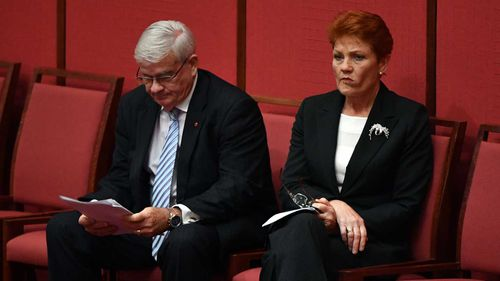 Brian Burston and Pauline Hanson. (AAP)