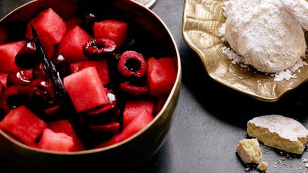 Watermelon, cherry and rose salad with shortbread, yoghurt and cherry syrup