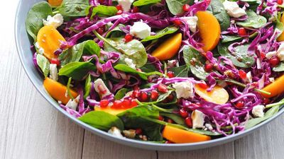 "Recipe: <a href=""http://kitchen.nine.com.au/2017/05/25/11/42/autumn-rainbow-salad"" target=""_top"">Persimmon, red cabbage and feta salad</a>"