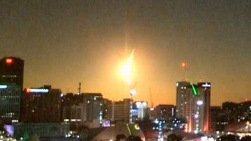 The 9News Skycam caught the moment a meteor lit up the city sky.