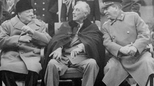 From left: British prime minister Winston Churchill, US President Franklin Roosevelt and Russian leader Josef Stalin at the Yalta conference in 1945. (AP)