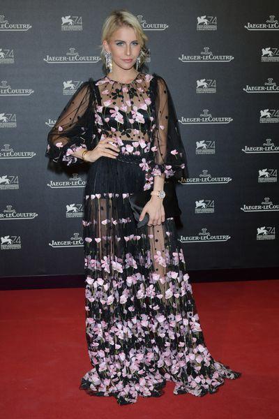 Caroline Daur in Dolce & Gabbanaat the Venice Film Festival, 2017.