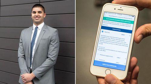Mr Pooviah; the app CancerAid. (CancerAid/Nikhil Pooviah)