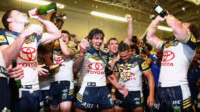 The team celebrated together after the game more cheers and a few toasts. (AAP)