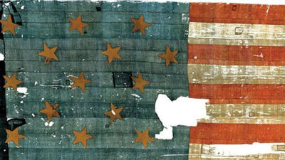 "The Smithsonian Museum in the US houses, among many other historical artefacts, one of the first ""stars and stripes"" American flags to have been made, during the Revolutionary War. However, the flag has been heavily mangled. A US officer, George Armistead, took the flag home from Baltimore as a memento, passing it eventually to his daughter Georgiana in 1861. Ms Armistead began to rip off pieces of the flag as souvenirs to pass on to other people, until the Smithsonian forced her to stop and took possession of the ragged remains in 1907. (Supplied)"