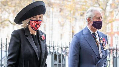 The Prince of Wales and the Duchess of Cornwall arrive at Westminster Abbey in London, to attend a service to mark Armistice Day and the centenary of the burial of the unknown warrior. PA Photo. Picture date: Wednesday November 11, 2020. See PA story MEMORIAL Remembrance. Photo credit should read: Aaron Chown/PA Wire