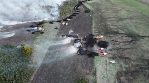 Drone video captured the peat fires smouldering in the state's southwest.