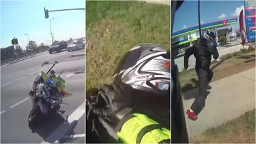 A motorcyclist attempted to run away after allegedly hitting a highway patrol officer with his bike.