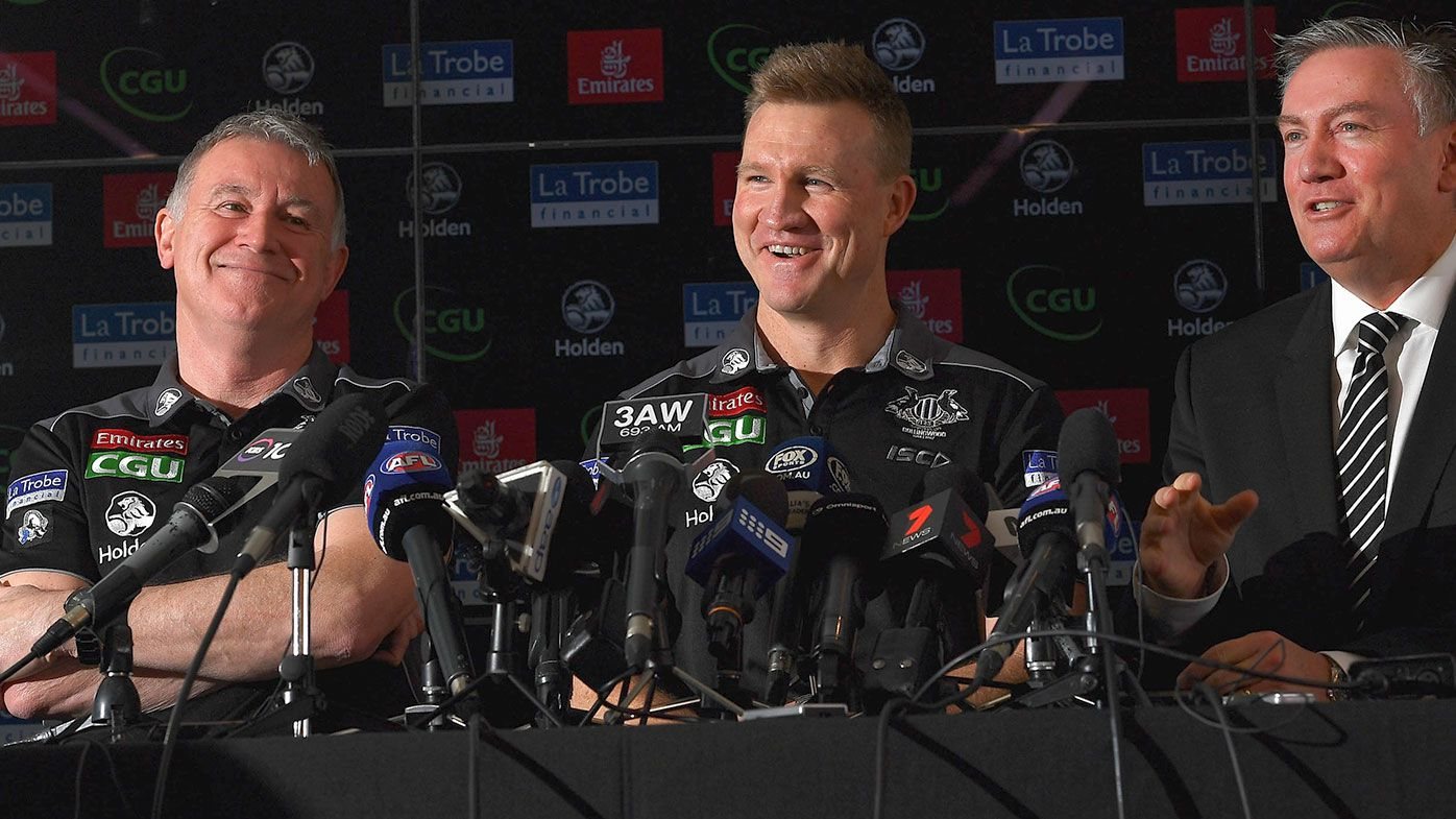 Geoff Walsh the General Manager of Football, Nathan Buckley the coach and Eddie McGuire the President