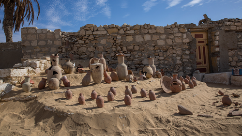 Pottery is on display near the funerary site of the temple of Queen Nearit, the wife of King Teti, where Egyptian archaeologist Zahi Hawass and his team unearthed a vast necropolis. (AP Photo/Nariman El-Mofty)