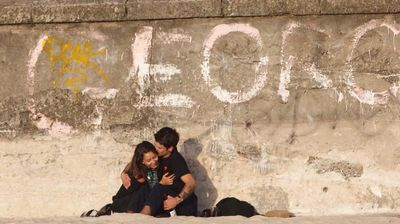 Young love captured by the Bondi Sea Wall.