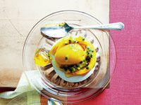 Mango Sorbet and passionfruit meringues