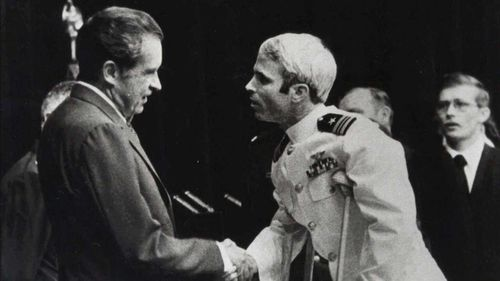 John McCain meeting then-President Richard Nixon upon his release in 1973. (AAP)