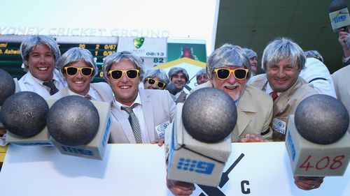 Spectators dressed as Richie Benaud pose during day two of the Fourth Test match between Australia and India at Sydney Cricket Ground. (Getty Images)