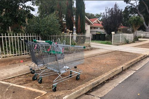 Marion Council workers collected more than 230 dumped trolleys from the area in just four days. Picture: 9NEWS
