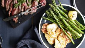 Jacqueline Alwill's grilled asparagus with haloumi and lime
