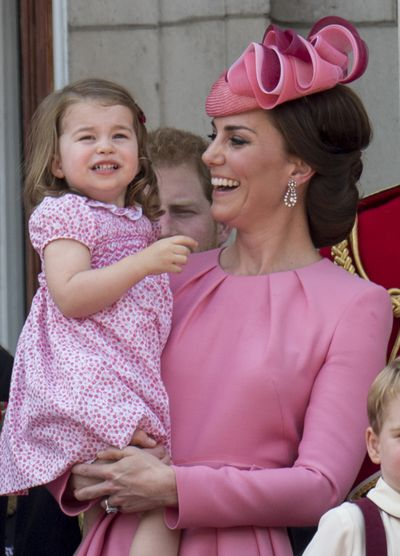Duchess of Cambridge Kate Middleton and Princess Charlotte of Cambridge on the balcony at Buckinghgam Palace during the annual Trooping The Colour parade, June, 2017 in London, England