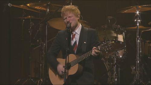Ed Sheeran performs Visiting Hours at Michael Gudinski state memorial