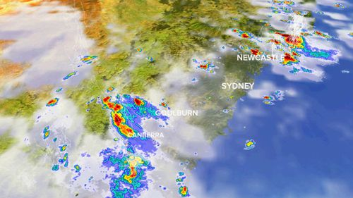 Heavy storms over Canberra and Sydney yesterday. (9NEWS)