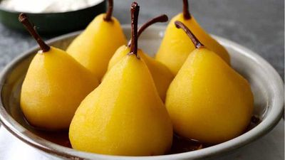 "Recipe:&nbsp;<a href=""http://kitchen.nine.com.au/2017/07/07/13/26/lynton-tapps-saffron-and-pink-pepper-poached-pears"" target=""_top"">Lynton Tapp's saffron and pink pepper poached pears</a>"