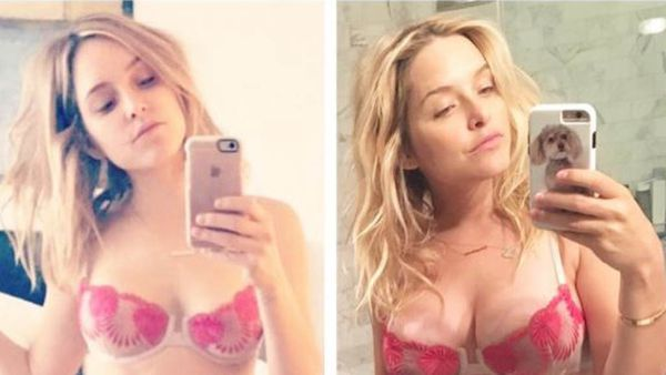 Jenny Mollen at zero weeks and then, 33 weeks. Image: Instagram/@jennyandteets2
