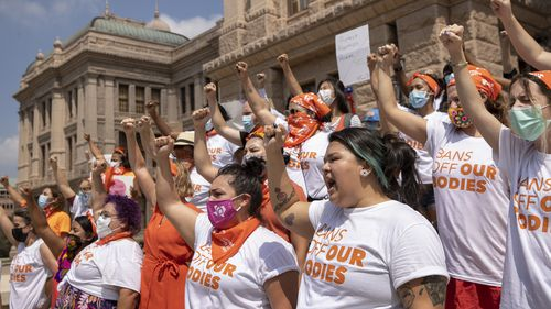 Women protest against the six-week abortion ban at the Capitol in Austin, Texas.