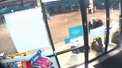 The two thieves tried kicking the glass door in before body slamming it instead.