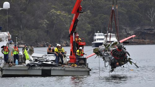 The front of the plane was a twisted wreck. (Image: AAP)