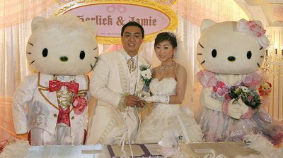 <p>Jamie Ng and Horlick Ng got married with Hello Kitty in a Hong Kong subway because… we're actually not sure why they did that. But they sure appear to have enjoyed it!</p>