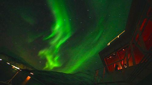 Night time view from the Hurtigruten boat. Lofoten Islands, Norway. (9NEWS/Jessica Braithwaite)