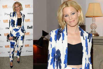 <i>The Hunger Games</i> actress Elizabeth Banks displayed her taut tum in a midriff at the <i>Love & Mercy</i> world premiere party.