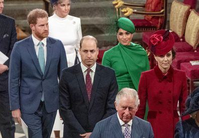 Prince Harry, Duke of Sussex, Meghan, Duchess of Sussex, Prince William, Duke of Cambridge, Catherine, Duchess of Cambridge and Prince Charles, Prince of Wales attend the Commonwealth Day Service 2020 on March 9, 2020 in London, England. (Photo by Phil Harris - WPA Pool/Getty Images)