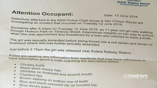 A letter distributed to parents by police. Picture: 9NEWS