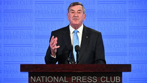 Huawei's Australian chair John Lord addresses the National Press Club today. Picture: AAP