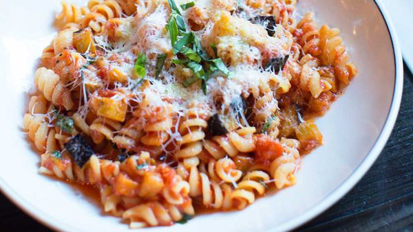 Fusilli alla norma with eggplant and ricotta salata thumb