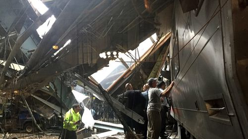 A picture from the scene shows debris strewn around the station. (AFP)