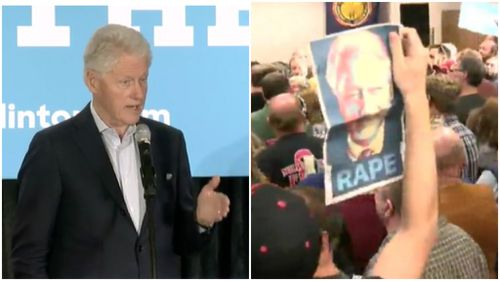 Bill Clinton has laughed off rape accusations at a US rally. (Twitter)