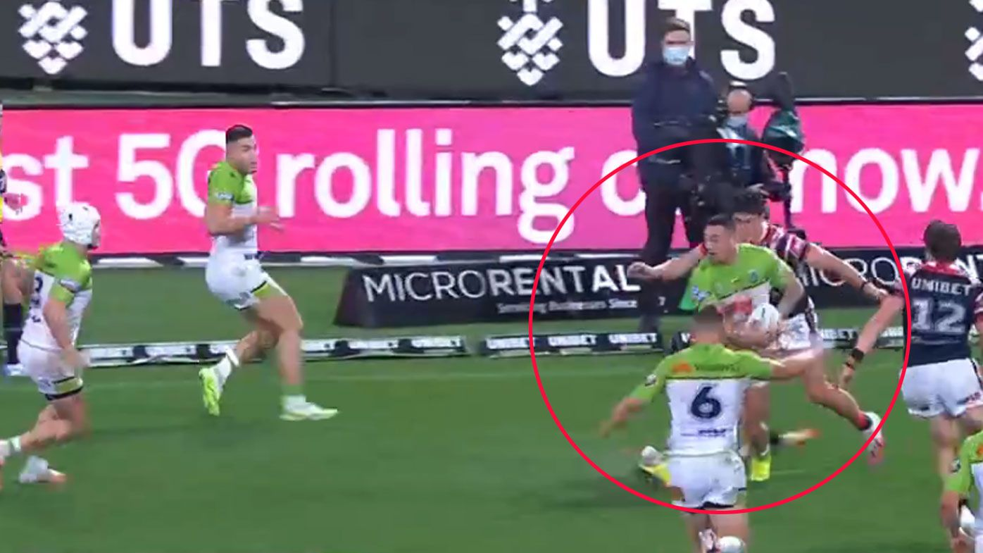 Canberra blew a try-scoring opportunity before halftime