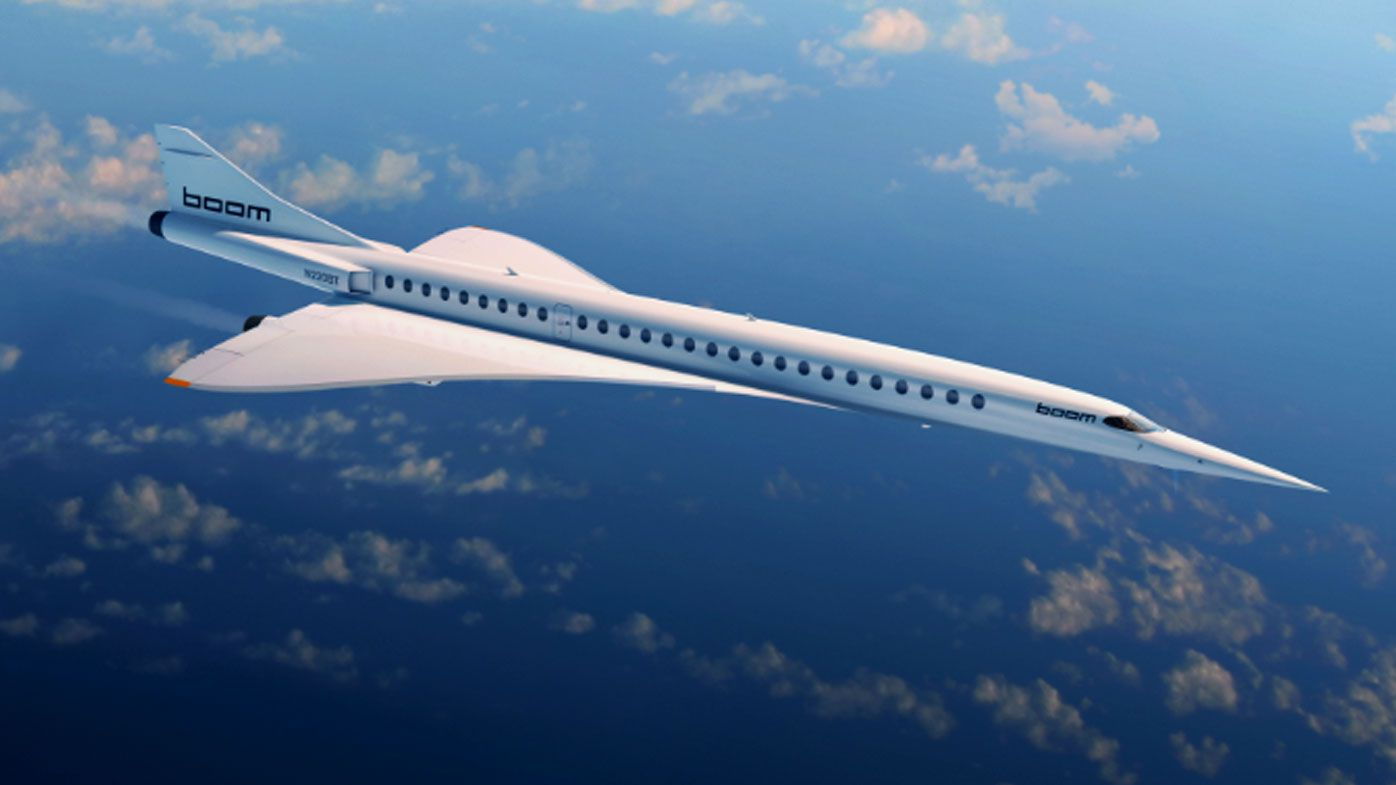 The Boom Supersonic passenger jet set to take to the sky in seven years. (Supplied).
