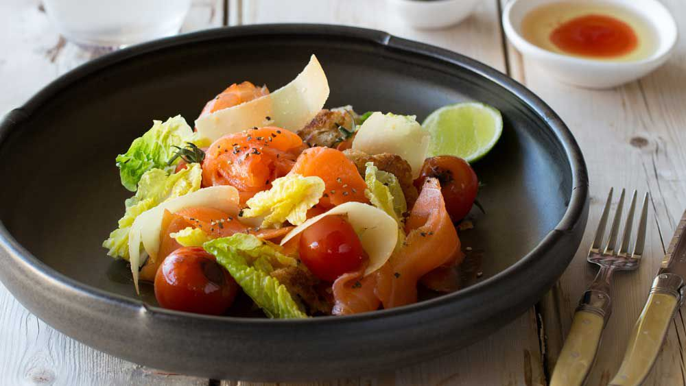 Huon cold smoked salmon panzanella salad