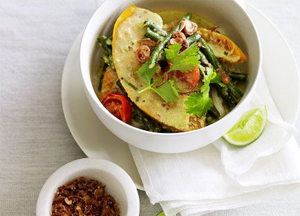 Pumpkin and snake bean curry with rice noodles